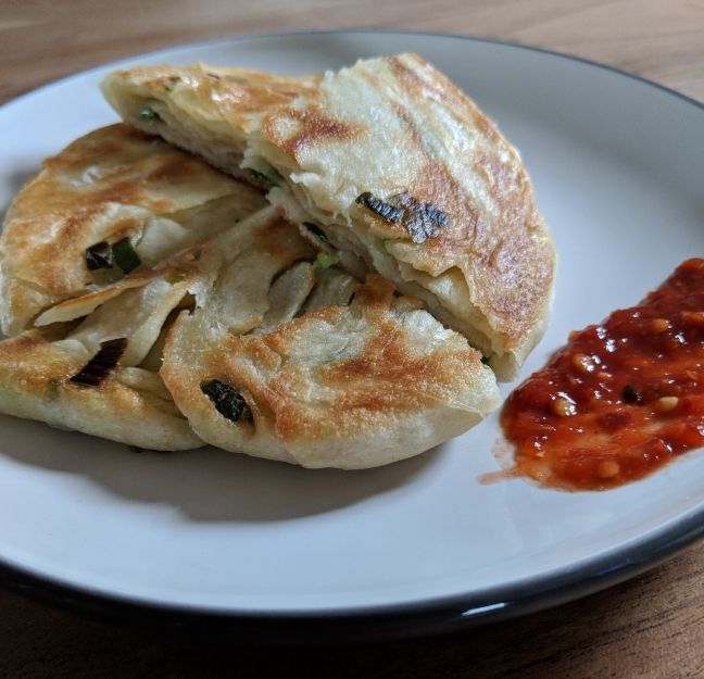 Green Onion Cake served with chili garlic sacue